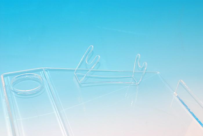 プラスチック製POP 置き型什器 展示用特殊形状